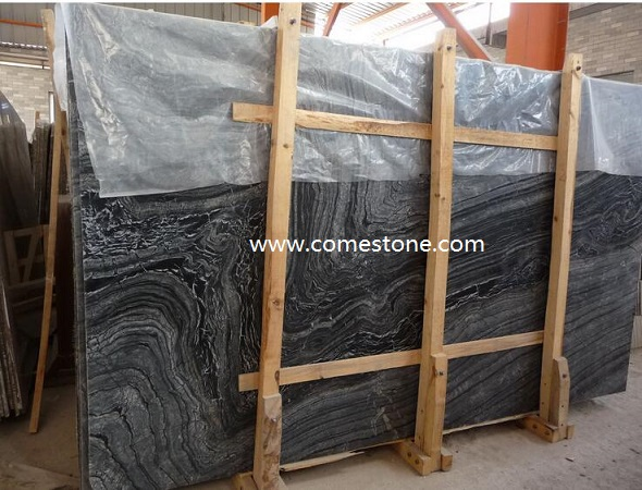 Black Wooden Veins Marble  Slab
