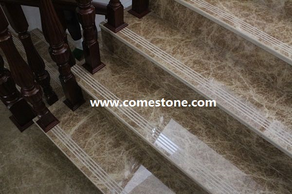 Light Emperador Marble Step Stairs