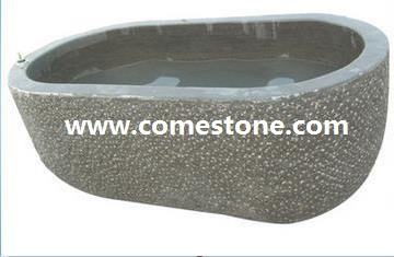 Carved Black Bluestone Bath Tub Surround