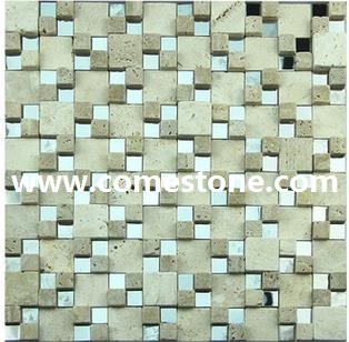 white travertine mosaic tile