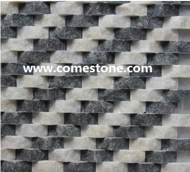 white and grey Quartzite mosaic tile