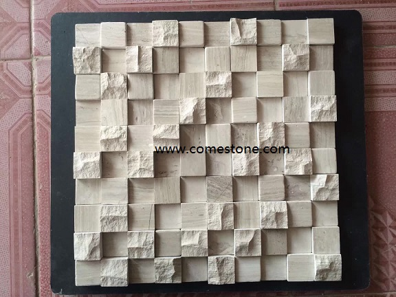 3D wall decoration travertine marble mosaic tiles