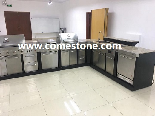 granite countertop with oven hole